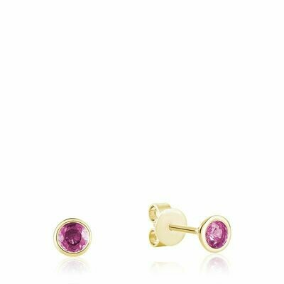 Bezel Set Pink Topaz Stud Earrings Yellow Gold