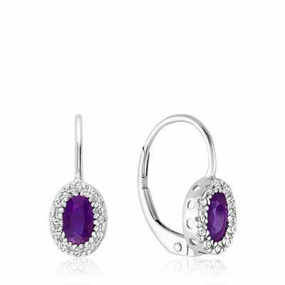 Oval Amethyst & Diamond Halo Dangle Earrings White Gold