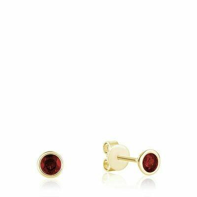 Bezel Set Garnet Stud Earrings Yellow Gold