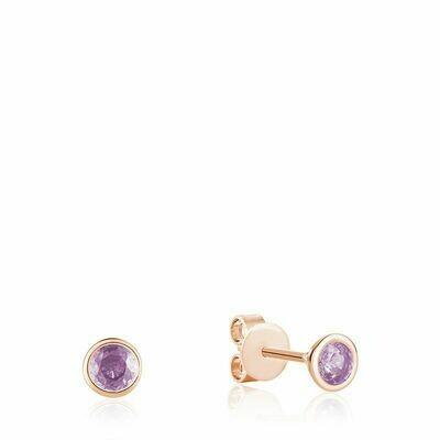 Bezel Set Pink Amethyst Stud Earrings Rose Gold