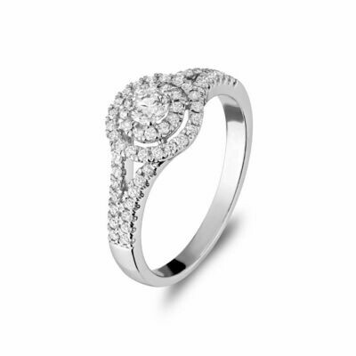 Double Halo Engagement Ring 0.75CTDI White Gold