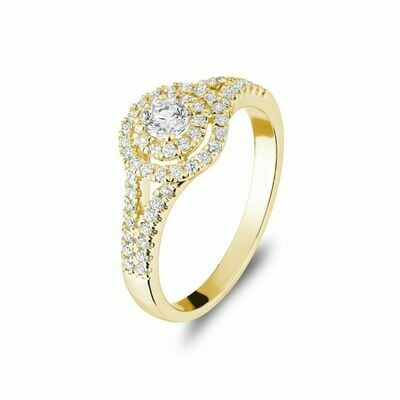Double Halo Engagement Ring 14KT Yellow Gold 0.50 carat - 1.00 CT