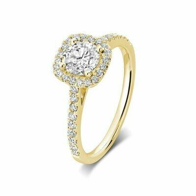 Cushion Mount Diamond Engagement Ring 1.00CTDI Yellow Gold