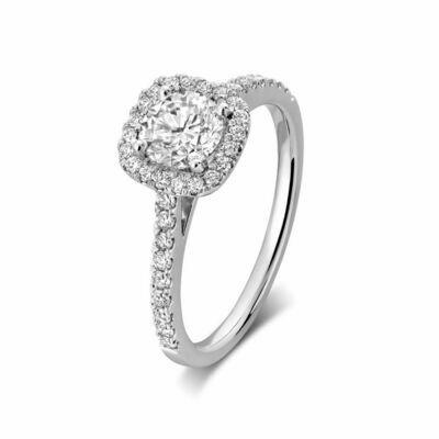 Cushion Mount Diamond Engagement Ring 0.50CTDI White Gold