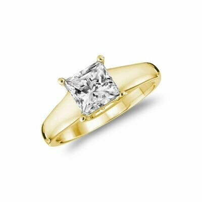 Solitaire Princess Engagement Ring 0.35CTDI Yellow Gold