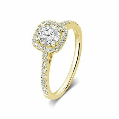 Cushion Mount Diamond Engagement Ring 0.75CTDI Yellow Gold
