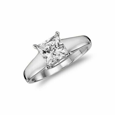 Solitaire Princess Engagement Ring 0.50CTDI White Gold