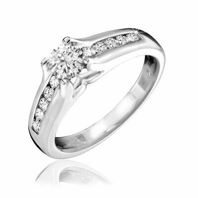 Channel Set Solitaire Diamond Ring 0.50CTDI White Gold