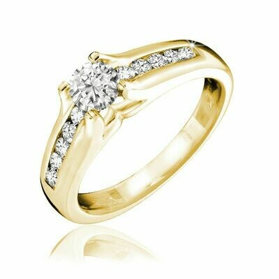 Channel Set Solitaire Diamond Ring 0.35CTDI Yellow Gold