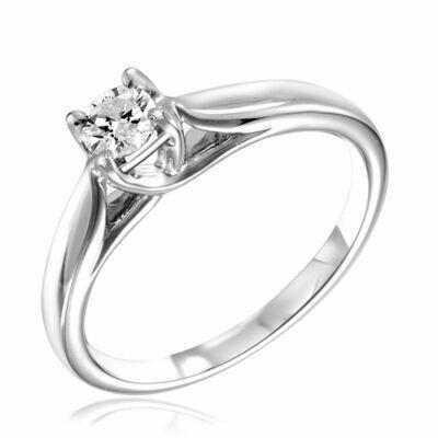 Solitaire Diamond Ring 0.10CTDI White Gold