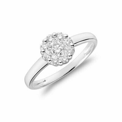 Cluster Mount Diamond Ring 0.15CTDI White Gold