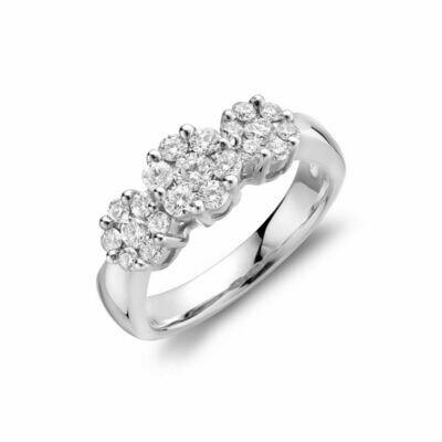 Past-Present-Future Diamond Cluster Ring 14KT White Gold 0.75CTDI
