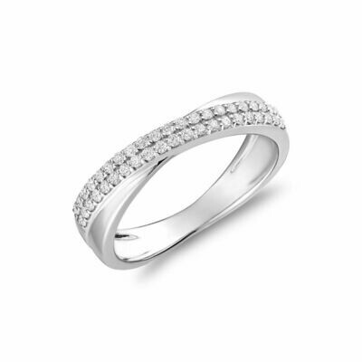 Crossover Diamond Pave Band 14KT White Gold 0.25CTDI