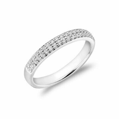 Diamond Pave Two Row Semi Eternity Band 14KT White Gold 0.35 carat TDW - 0.75 CT TDW