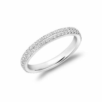 Diamond Pave Two Row Eternity Band 14KT White Gold 0.75 carat TDW - 1.50 CT TDW
