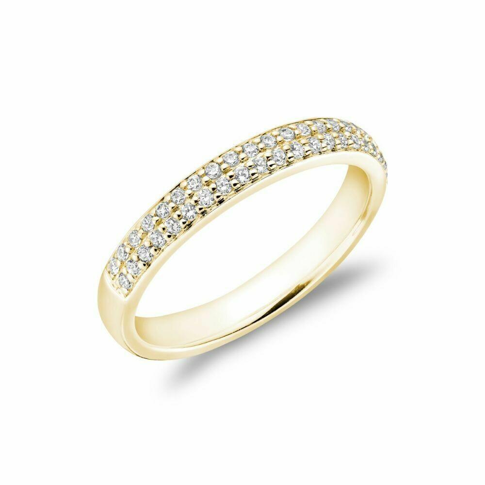 Diamond Pave Two Row Semi Eternity Band 14KT Yellow Gold 0.35CTDI