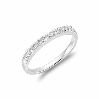 Diamond Claw Set Semi Eternity Band 14KT White Gold 0.15 carat TDW - 0.50 CT TDW