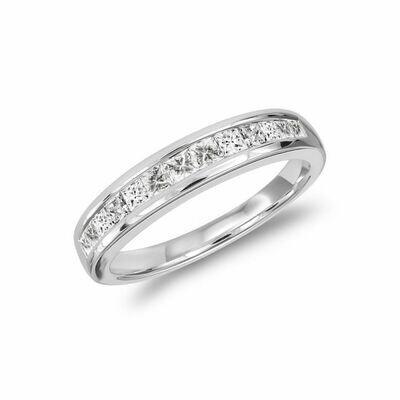 Princess Cut Diamond Semi Eternity Channel Set Band 14KT White Gold 0.15 carat TDW - 0.50 CT TDW