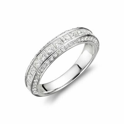 Channel Set Princess Cut Diamond Wedding Band White Gold