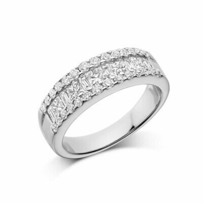 Wide Channel Set Princess Cut Diamond Wedding Band White Gold