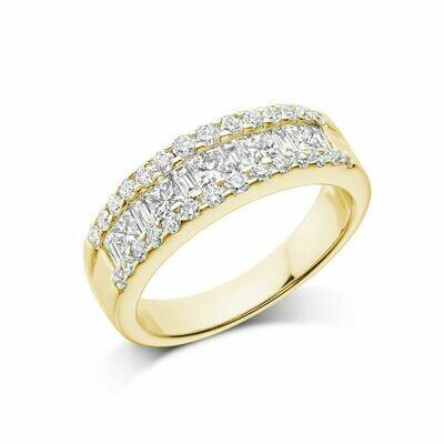 Wide Channel Set Princess Cut Diamond Wedding Band Yellow Gold