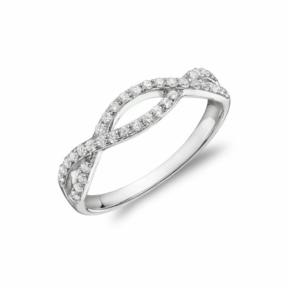 Diamond Pave Infinity Style Band 14KT White Gold 0.30CTDI