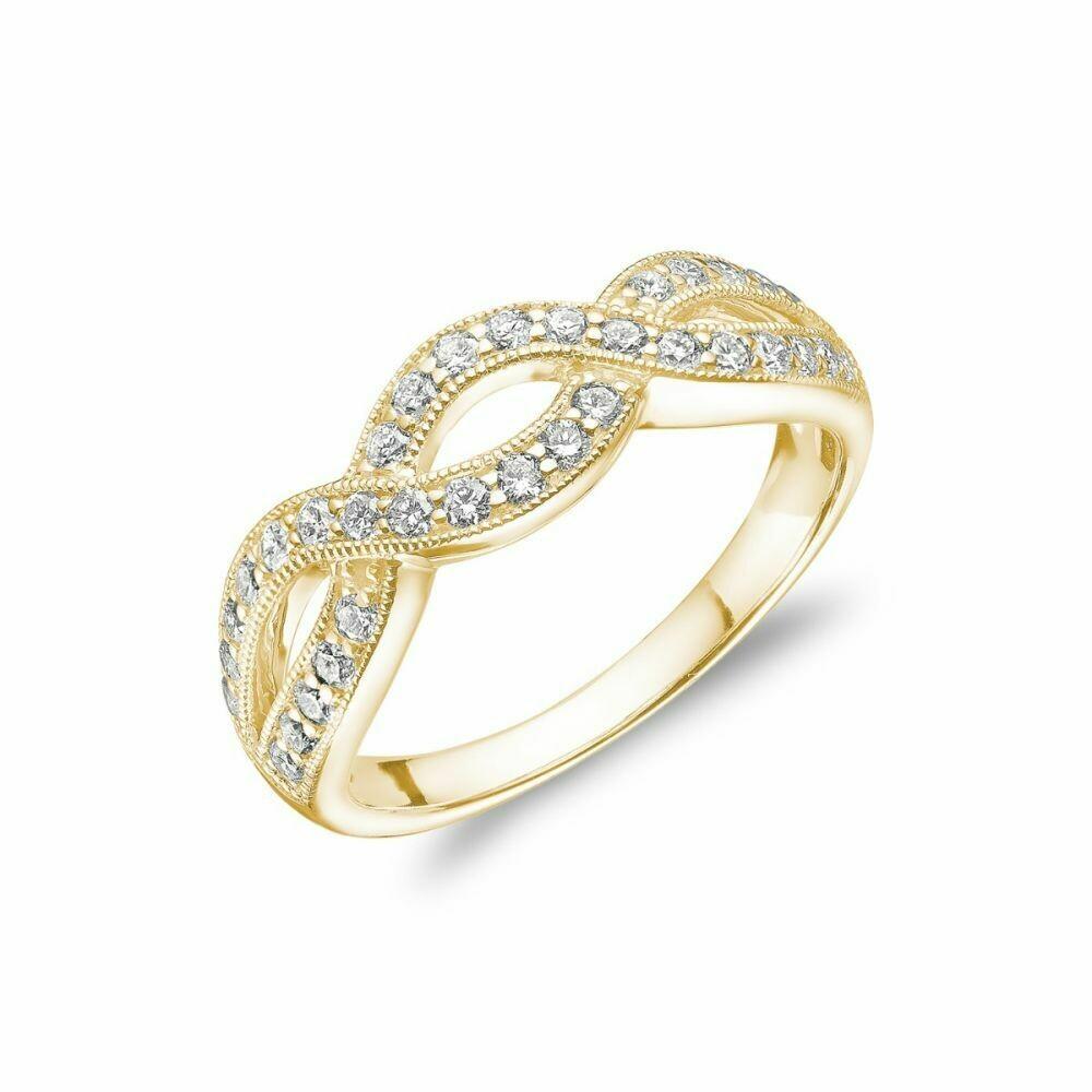 Diamond Pave Infinity Style Band 14KT Yellow Gold 0.51CTDI