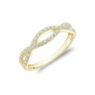 Diamond Pave Infinity Style Band 14KT Yellow Gold 0.30CTDI