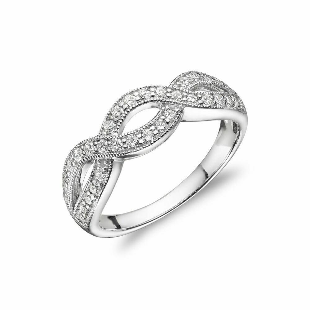 Diamond Pave Infinity Style Band 14KT White Gold 0.51CTDI