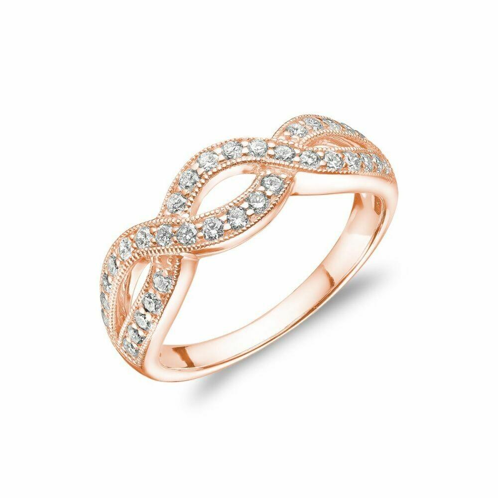 Diamond Pave Infinity Style Band 14KT Rose Gold 0.51CTDI
