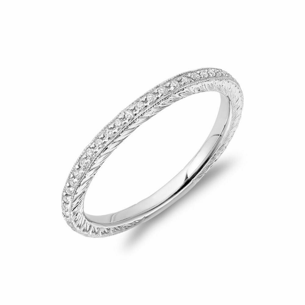 Diamond Pave Milgrain Stackable Band 14KT White Gold 0.19CTDI