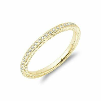 Diamond Pave Milgrain Stackable Band 14KT Yellow Gold 0.19CTDI