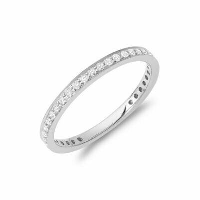 Diamond Pave 3/4 Eternity Stackable Band 14KT White Gold 0.27CTDI