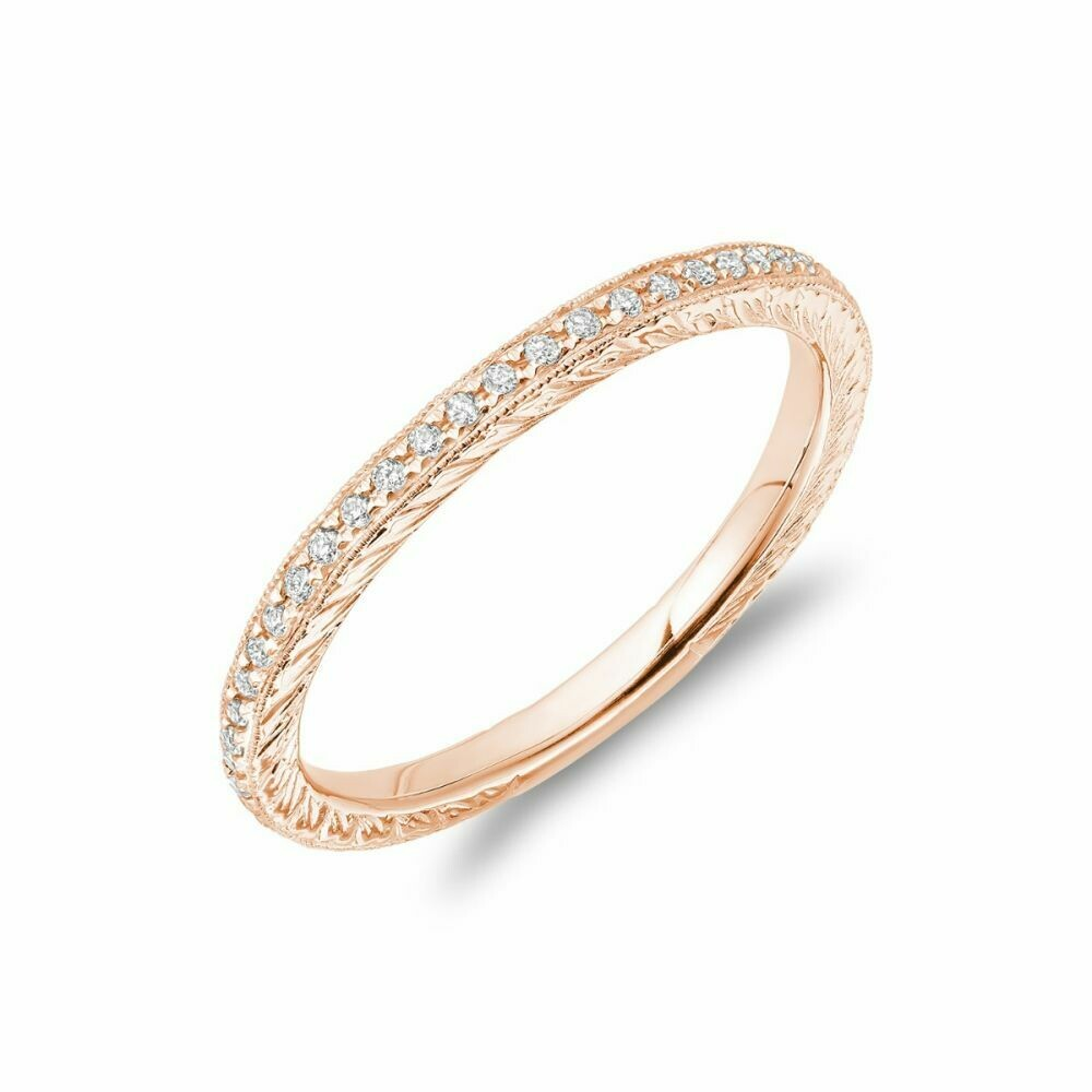 Diamond Pave Milgrain Stackable Band 14KT Rose Gold 0.19CTDI