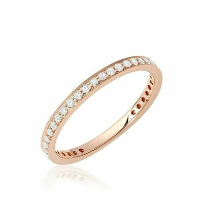 Diamond Pave 3/4 Eternity Stackable Band 14KT Rose Gold 0.27CTDI