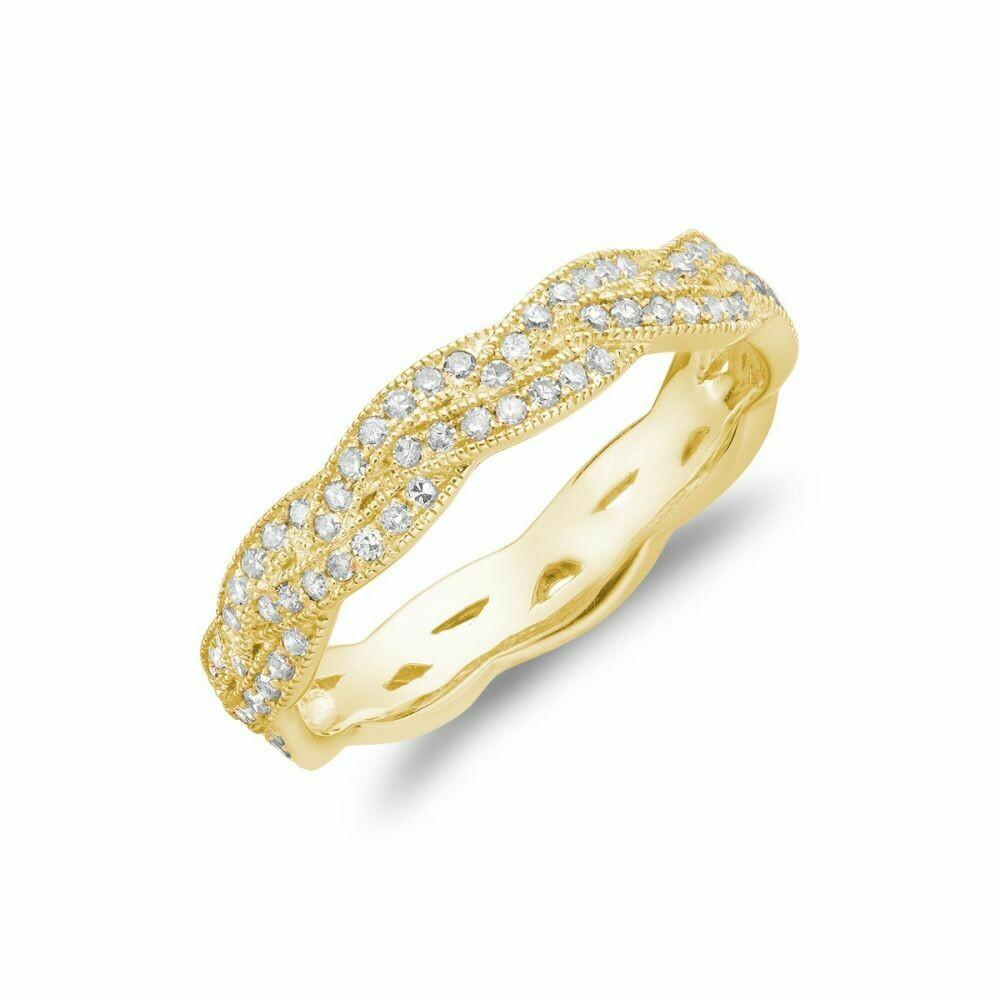 Diamond Pavé Braided Band 14KT Yellow Gold 0.21CTDI