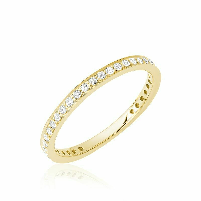 Diamond Pave 3/4 Eternity Stackable Band 14KT Yellow Gold 0.27CTDI