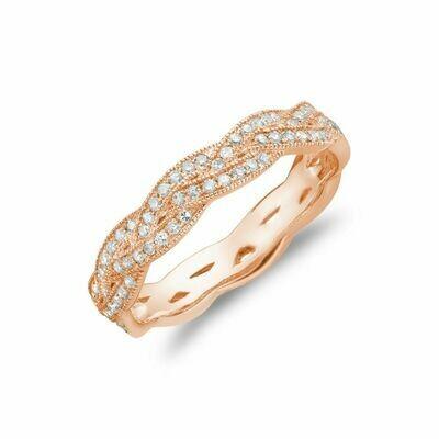 Diamond Pavé Braided Band 14KT Rose Gold 0.21CTDI