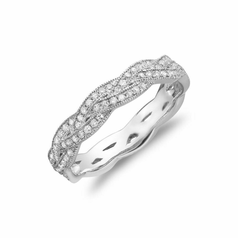 Diamond Pavé Braided Band 14KT White Gold 0.21CTDI