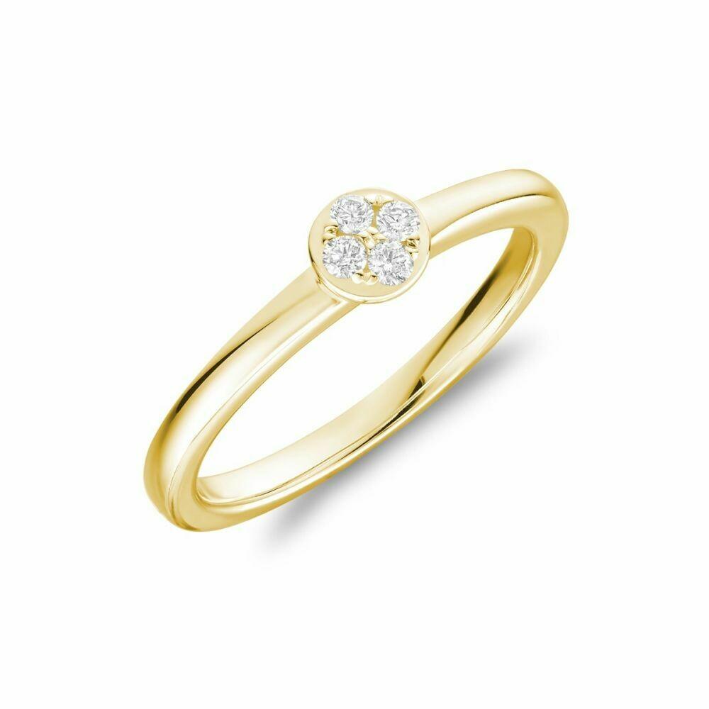 Diamond Cluster Ring 14KT Yellow Gold 0.10TDI