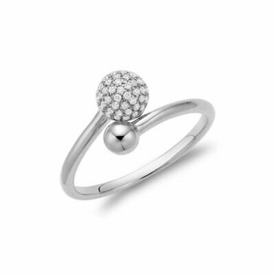 Diamond Pave Crossover Ring White Gold
