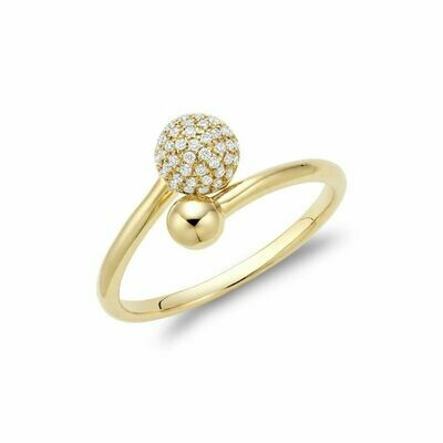 Diamond Pave Crossover Ring Yellow Gold
