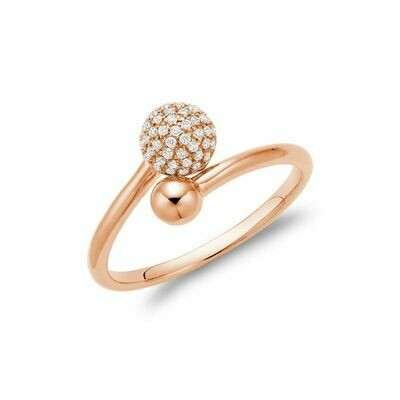 Diamond Pave Crossover Ring Rose Gold