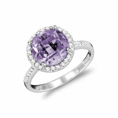 Round Amethyst & Diamond Halo Ring White Gold