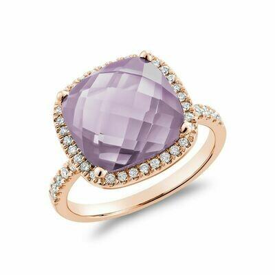 Cushion Cut Pink Amethyst & Diamond Halo Ring White Gold