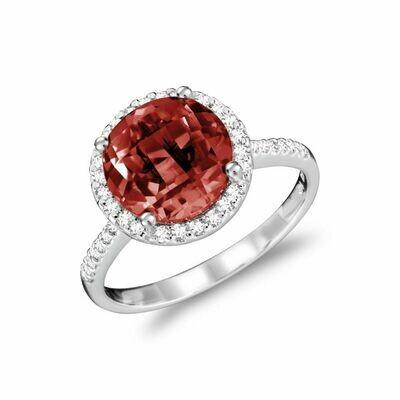Round Garnet & Diamond Halo Ring White Gold