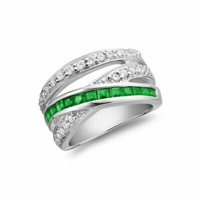 Bypass Wide Emerald & Diamond Ring White Gold