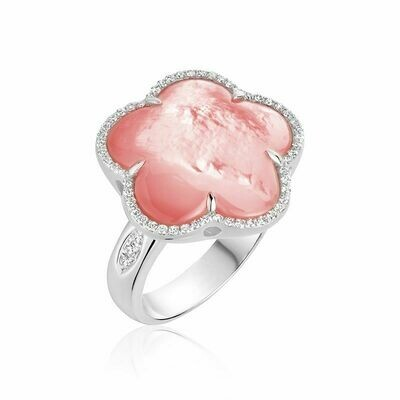 Pink Mother of Pearl & Diamond Flower Ring White Gold