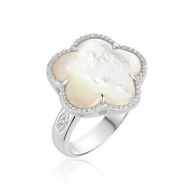 White Mother of Pearl & Diamond Flower Ring White Gold