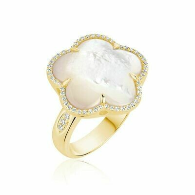 White Mother of Pearl & Diamond Flower Ring Yellow Gold